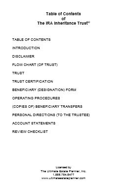 IRA Beneficiary Trust: Owner's Manual Inserts & Coverpages ...