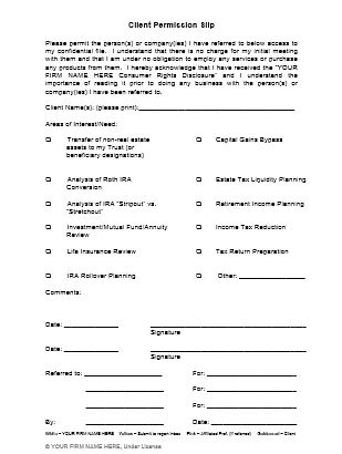 Financial Advisor & Attorney Referral: Client Permission Slip ...