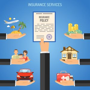 Insurance Services Concept with Flat Icons for Poster, Web Site, Advertising like House, Car, Medical, Travel.